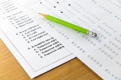 Распечатка результатов испытаний и лист ответа Стоковое фото RF
