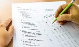 Распечатка результатов испытаний и лист ответа Стоковые Фото