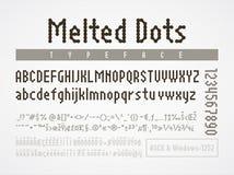 Расплавленный шрифт пиксела точек Диаграммы кода ASCII Windows-1252 иллюстрация вектора