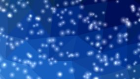 Расплывчатые снежинки или маленькие света падая на синюю кристаллическую полигональную предпосылку с влиянием движения камеры иллюстрация вектора