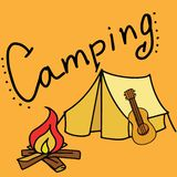 Располагаться лагерем и на открытом воздухе иллюстрация вектора с гитарой иллюстрация вектора