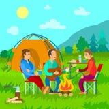 Располагаться лагерем, лагерный костер и шатер, друзья с гитарой бесплатная иллюстрация