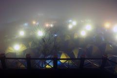 Располагаться лагерем на сцене ночи Стоковые Фото