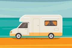 Располагаться лагерем на тропическом пляже Перемещение лета, иллюстрация вектора трейлера туриста бесплатная иллюстрация