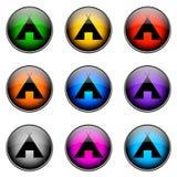 РАСПОЛАГАТЬСЯ ЛАГЕРЕМ цвета кнопки Стоковое фото RF
