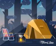 Располагаться лагерем, шатер и костер иллюстрация вектора