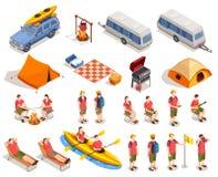 располагаться лагерем hiking комплект иконы иллюстрация штока