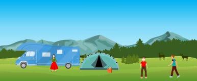 Располагающся лагерем в природе, естественный ландшафт Стоковое Фото