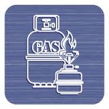Располагаясь лагерем плита с вектором значка газового баллона Стоковые Фотографии RF