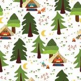 Располагаясь лагерем предпосылка вектора на открытом воздухе сцены безшовная Картина Glamping Шатры Boho вечером в лесных деревья иллюстрация вектора