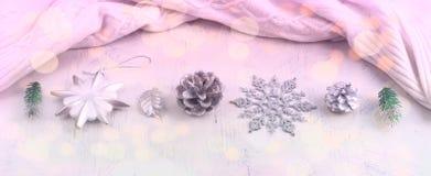 Расположение рождества знамени праздничное декоративных элементов Стоковое Изображение RF