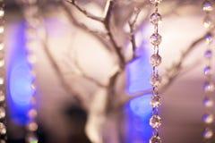 Расположение таблицы шарика строки серебряного дерева и стекла Стоковые Изображения RF