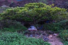 Располагаться лагерем в Кауаи во время захода солнца Стоковые Фото