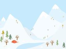 Располагаться лагерем зимы деревянный с шатром. иллюстрация вектора