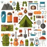 Располагаться лагерем и пеший комплект оборудования иллюстрация штока