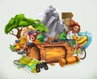 Располагаться лагерем и приключение, вектор бесплатная иллюстрация
