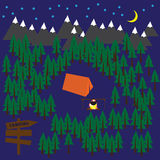 Располагаясь лагерем предпосылка вектора с лесом, горами, шатром и костром Стоковая Фотография