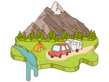 Располагаясь лагерем шатер около гор на заднем плане иллюстрация вектора