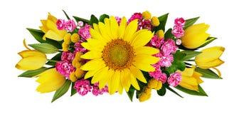 Расположение солнцецвета, тюльпанов и цветков hawtorn Стоковые Фото