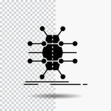 Распределение, решетка, инфраструктура, сеть, умный значок глифа на прозрачной предпосылке r иллюстрация вектора