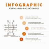 Распределение, решетка, инфраструктура, сеть, умный шаблон Infographics для вебсайта и представление r иллюстрация штока