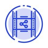 Распределение, фильм, фильм, P2p, линия значок голубой пунктирной линии доли иллюстрация штока