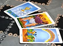 Распространение карточки карточек Tarot 3 Стоковая Фотография RF