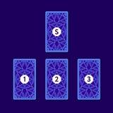 Распространение карточки tarot 3 Обратная сторона Стоковая Фотография RF
