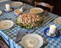 Распространение обедающего салата омара Стоковые Изображения