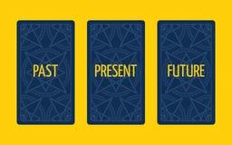 Распространение tarot 3 карточек За, настоящий момент и будущее Стоковая Фотография