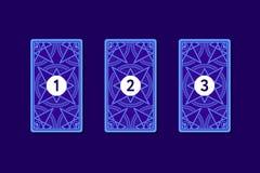 Распространение tarot 3 карточек Обратная сторона Стоковая Фотография