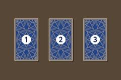 Распространение tarot 3 карточек Обратная сторона Стоковые Фото