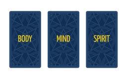 Распространение tarot 3 карточек Тело, разум и дух Стоковая Фотография