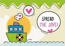 Распространите корабль шаржа /Colorful карточки дизайна влюбленности малый Стоковые Фотографии RF