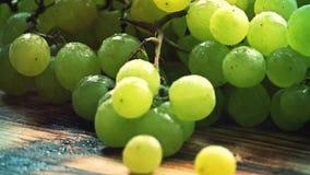 Распыляя вода над зрелыми свежими зелеными виноградинами на деревянном столе акции видеоматериалы