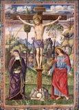Распятие Иисуса - девственница Mary и St. John евангелист - печать литографированием стоковая фотография