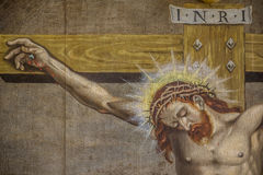 Распятие, altarpiece от 1613 неизвестным художником стоковая фотография