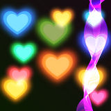 Расплывчатая яркая предпосылка с покрашенными сердцами бесплатная иллюстрация