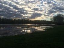 Рассветайте над рекой в России, Саратове Стоковое Фото