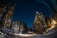Рассвет в Йеллоунайф Канаде стоковое фото rf