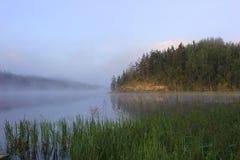 Рассвет на озере Ladoga, Karelia, России Стоковые Фото