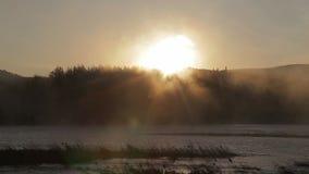 Рассвет на реке с туманом видеоматериал