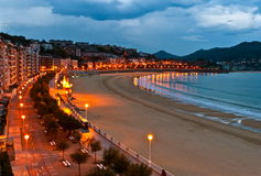 Рассвет пляжа San Sebastian Стоковая Фотография RF