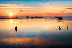 Рассвет Феррара эмилия-Романья Италия лагуны Comacchio Стоковые Изображения