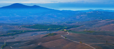 Рассвет d'Orcia Val стоковая фотография