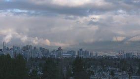 Рассвет Timelapse 4K городского пейзажа Ванкувера сток-видео