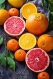 Рассеченные свежие фрукты Апельсин, грейпфрут и tangerines Стоковые Изображения RF