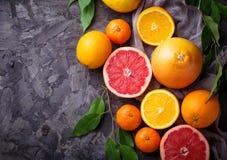 Рассеченные свежие фрукты Апельсин, грейпфрут и tangerines Стоковые Фотографии RF
