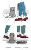 Рассеянные кот и собака снаружи Бездомные любимчики с унылым взглядом Нарисованная рукой иллюстрация вектора Стоковые Изображения