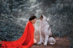 Рассказ красной крышки с шарлахом длиной летая порхая плащ, темн-с волосами девушка покрывает ее сторону с ее руками и стоковая фотография